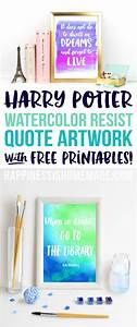 Watercolor Resist Harry Potter Quotes - Happiness is Homemade