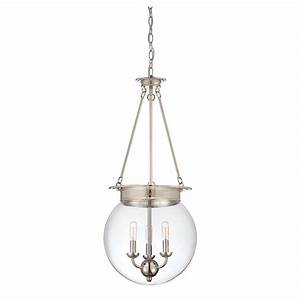 Glass filament polished nickel three light pendant savoy