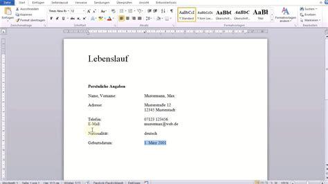 Schreiben Lebenslauf by Einfacher Tabellarischer Lebenslauf In Word