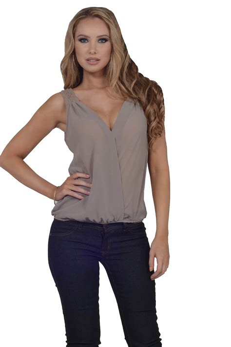 womens blouses womens casual sheer sleeveless crossover neck elastic