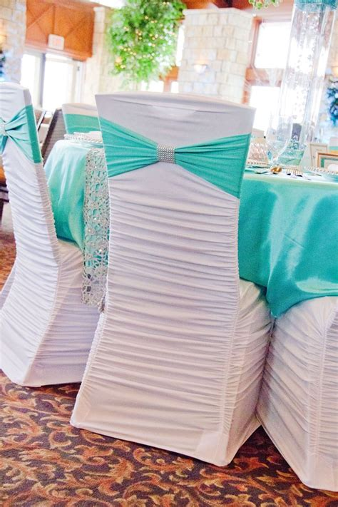 White Ruched  Ee  Chair Ee   Cover Tiffany Blue Spandex Sash And