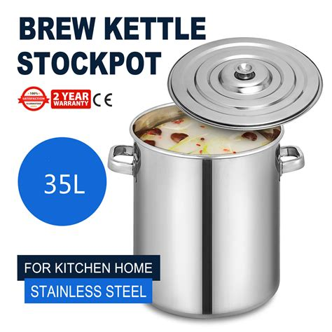 beer pot kettle brewing sizes steel quart lid polished covered
