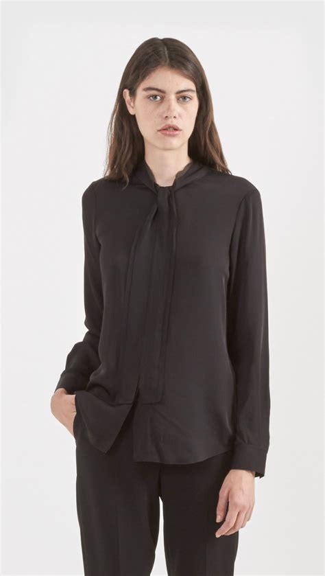 theory silk blouse theory rashida silk blouse in black lyst