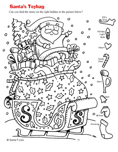 christmas worksheets hidden pictures hidden santa picture coloring page printout more fun