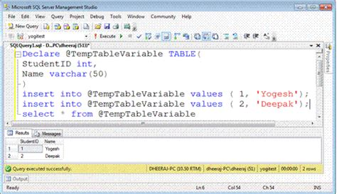 how to use temp table in sql server temporary tables vs table variable in sql server 2008