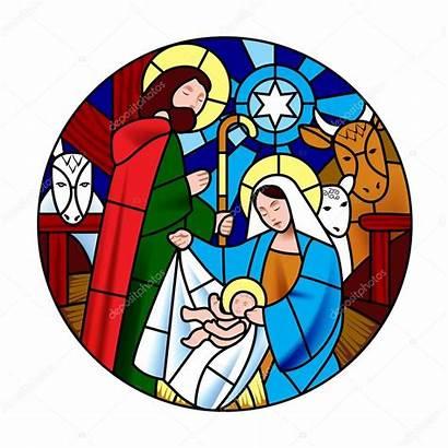 Jesus Birth Christ Scene Circle Shape Stained