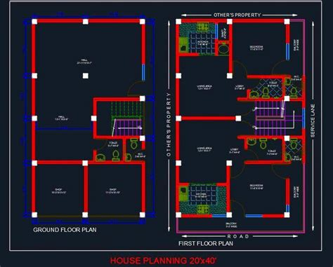 house planning floor plan 20 x40 autocad file autocad dwg plan n design