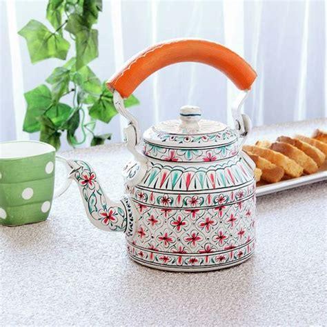Kitchen Living Tea Kettle by My Kitchen Stuffs Kaushalam Tea Kettle White Orange
