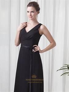 black chiffon v neck sleeveless dresses for outdoor summer With black dress summer wedding