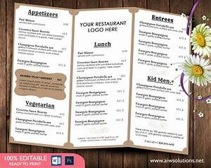 design templatestri fold take out menu menu templates With templates for restaurant menus