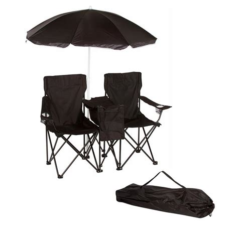 Trademark Innovations Black Double Folding Camp And Beach