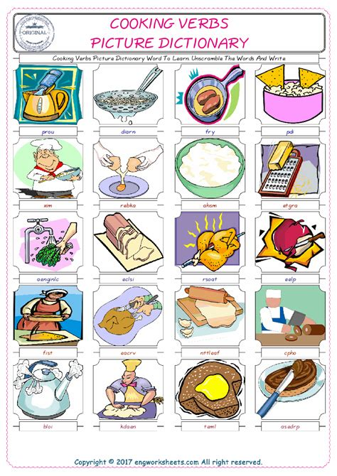 cooking verbs esl printable english vocabulary worksheets