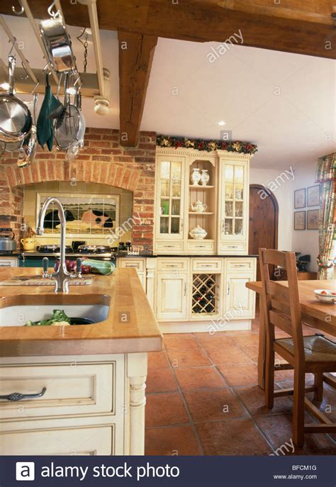 terracotta backsplash kitchen terracotta floor tiles and exposed brick wall in country 2694