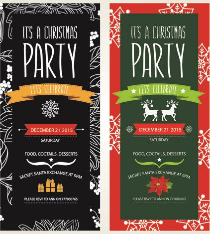 2015 christmas party invitation banners vector Free vector