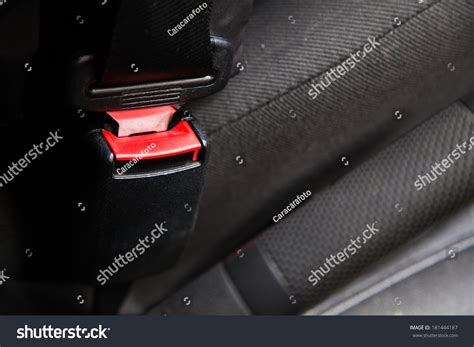 Red Seat Belt Car Stock Photo 181444187