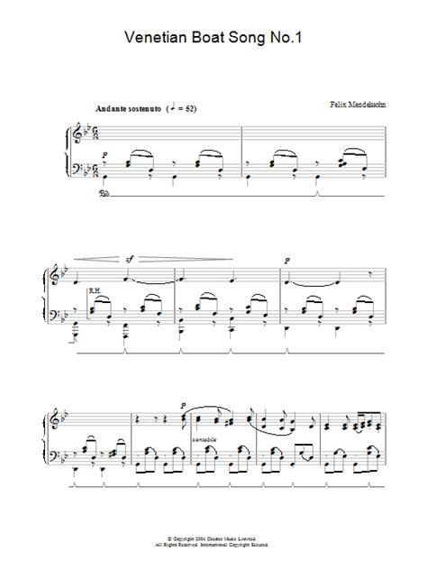 Venetian Boat Song No 1 by Venetian Boat Song No 1 Partitions Felix Mendelssohn Piano