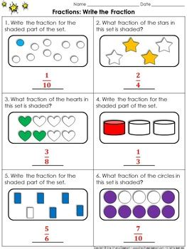 fractions write  fraction sets practice sheets