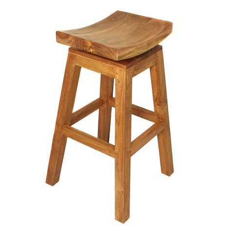 casa cortes solid teak wood 30 inch swivel bar stool seat