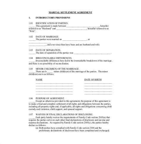 preliminary sale agreement template 11 divorce agreement templates free sle exle