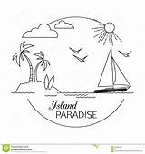 Paradise Outline Coloring Island Template Viaggio Ed Vacation Landscape Vacanza Lineare Spiaggia Paradiso Descrivono Paesaggio Isola Acqua Turismo Fondo Dell sketch template