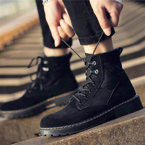 Men Comfortable Army Style Canvas High Top Boots Beebana