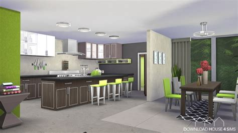 lime kitchen green modern  dhs sims  updates