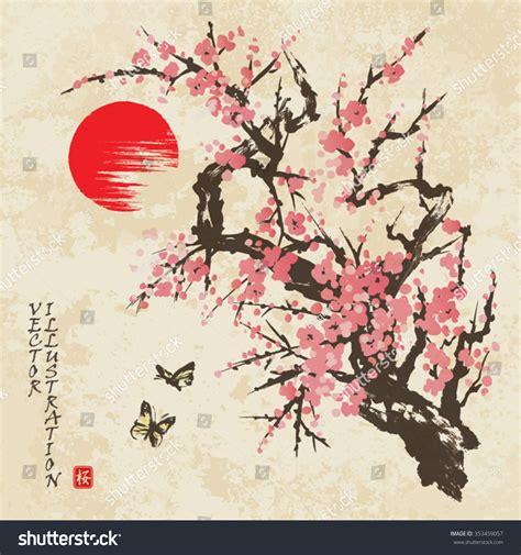Bibit Collagen Japanese Cherry cherry blossom butterflies traditional stock