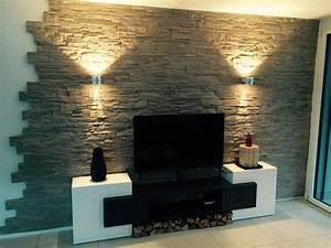Wohnzimmer Tv Wand Ideen : wandgestaltung stein lascas steinwand wohnzimmer ~ A.2002-acura-tl-radio.info Haus und Dekorationen