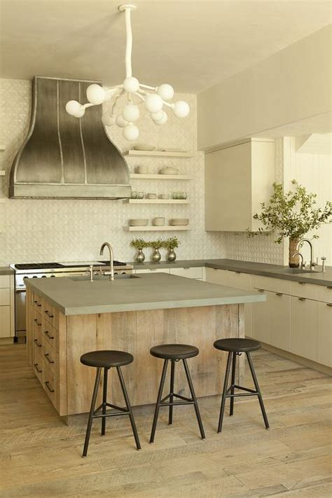reclaimed wood kitchen island  concrete countertop