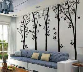5 birches tree with flying birds wall sticker