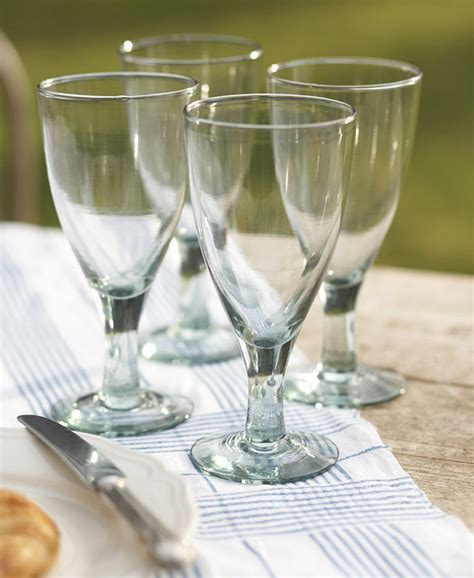 Recycled Large Wine Glasses   Set of 4   Natural