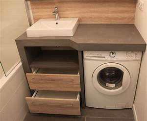 Lave Linge Dans Salle De Bain : 9 petites salles de bains avec lave linge astuces conseils lave linge meubles sur mesure ~ Preciouscoupons.com Idées de Décoration