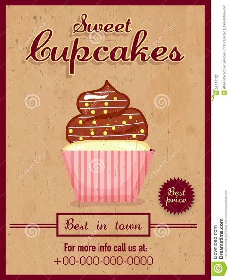 menu card flyer  brochure  cupcakes stock