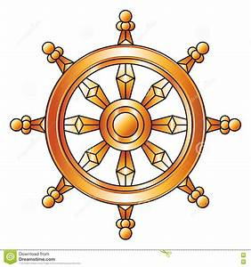 Golden Dharma Wheel. Buddhism Religion Symbol. Stock ...