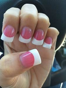 Pink and white powder with a small flare acrylic ...