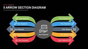 5 Section Arrow Diagram Template For Powerpoint  U0026 Keynote