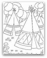 Teepee Coloring Indian Tipi Pages Tent Wigwam Drawing Indians Printable Native American Tepee Pee Tee Cherokee Sheets Template Homes Colouring sketch template