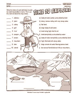 worksheet landforms classroom thinking social studies