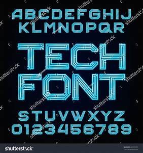 Tech Font Vector Alphabet Digital Hitech Stock Vector