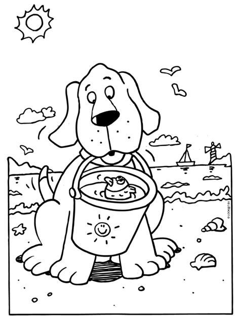 Kleine Honden Kleurplaat by Kleurplaat Hond Met Een Emmer Op Het Strand Kleurplaten Nl
