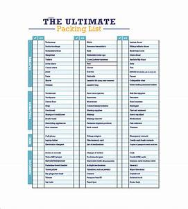 packing list template with several common kinds to consider