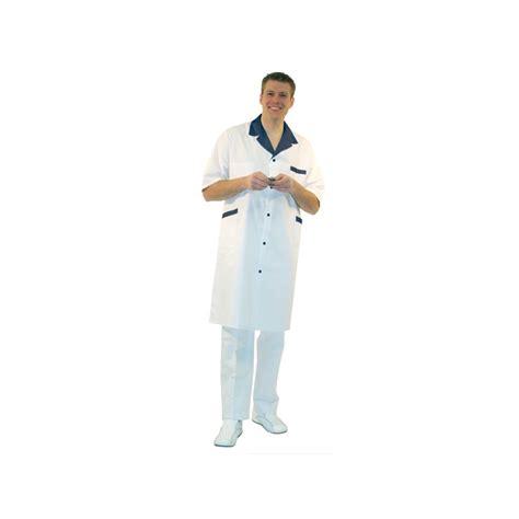 tablier de cuisine personnalisé homme blouse blanche manches courtes homme col couleur label blouse