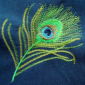 Peacock, Feather, Embroidery, Design