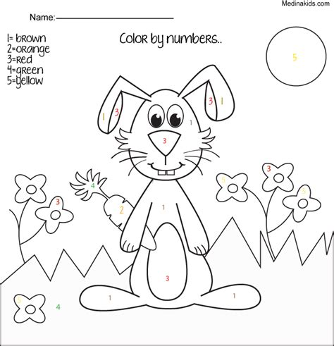 easy color by number printables coloring home