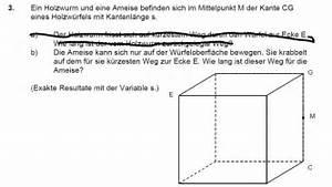 Kantenlänge Würfel Berechnen : w rfel weg einer ameise in einem w rfel mathelounge ~ Themetempest.com Abrechnung