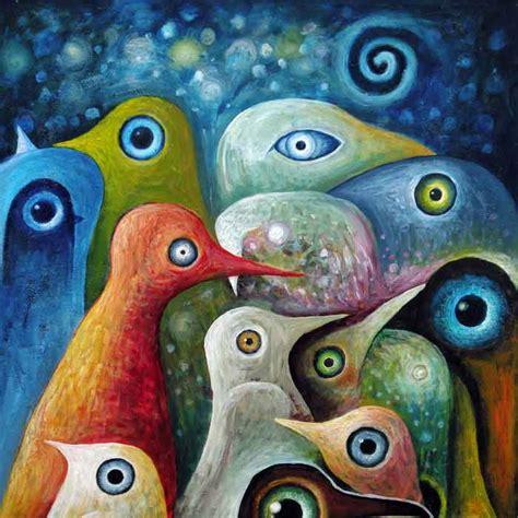 bureau etude electronique bizhen peinture abstraite oiseaux toile décoration murale