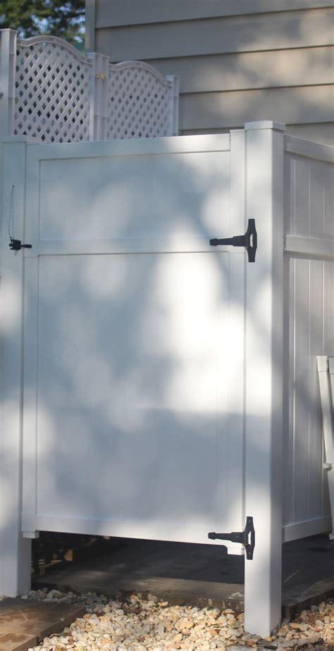 shower outdoor diy showers pvc pool outside fence backyard enclosure door panels using build vinyl living privacy bathroom around lattice