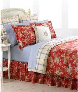 ralph lauren madeline red floral 4p queen comforter set