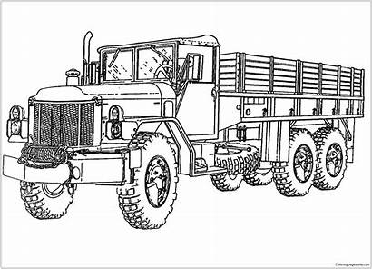 Coloring Truck Pages Printable Tanker Semi Army