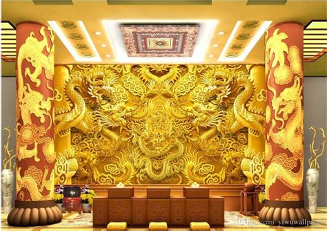 custom  size  gold dragon stereo wall mural